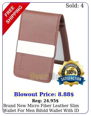brand micro fiber leather slim wallet men bifold wallet with id windo