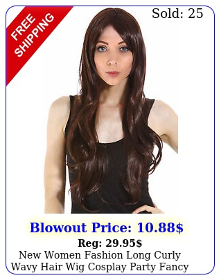 women fashion long curly wavy hair wig cosplay party fancy dress costume wi