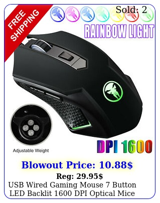 usb wired gaming mouse button led backlit dpi optical mice desktop pc us