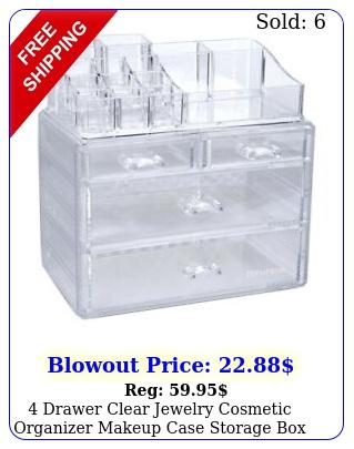 drawer clear jewelry cosmetic organizer makeup case storage space savin