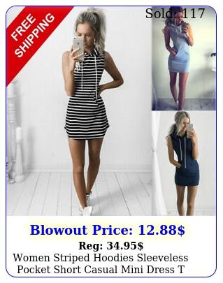 women striped hoodies sleeveless pocket short casual mini dress t shirt sundres