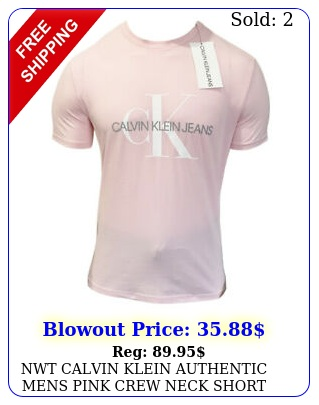 nwt calvin klein authentic mens pink crew neck short sleeve tshirt size s m l x