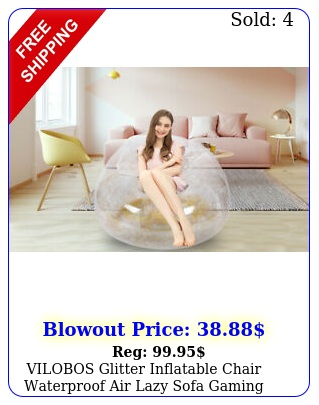 vilobos glitter inflatable chair waterproof air lazy sofa gaming beach pool sea