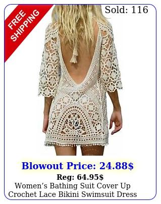 womens bathing suit cover up crochet lace bikini swimsuit dress one size