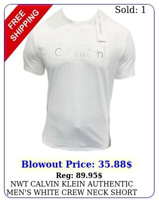 nwt calvin klein authentic men's white crew neck short sleeve tshirt size