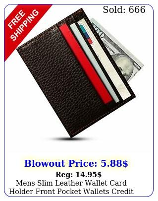 mens slim leather wallet card holder front pocket wallets credit id pocket thi