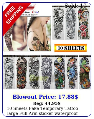 sheets fake temporary tattoo large full arm sticker waterproof black colo