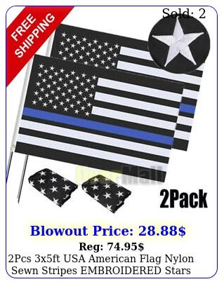 pcs xft usa american flag nylon sewn stripes embroidered stars brass grommet