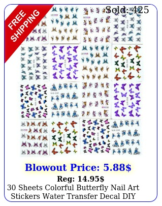 sheets colorful butterfly nail art stickers water transfer decal diy manicur
