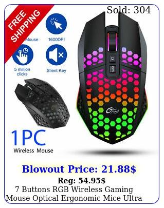buttons rgb wireless gaming mouse optical ergonomic mice ultra light honeycom