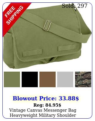 vintage canvas messenger bag heavyweight military shoulder school satchel slin
