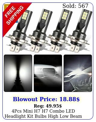 pcs mini h  h combo led headlight kit bulbs high low beam w lm