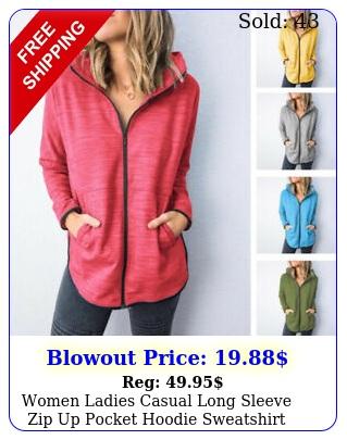 women ladies casual long sleeve zip up pocket hoodie sweatshirt tops coat jacke