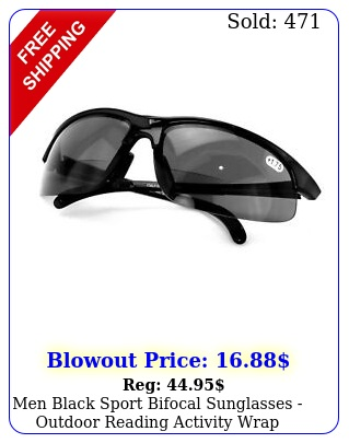 men black sport bifocal sunglasses outdoor reading activity wrap around reade