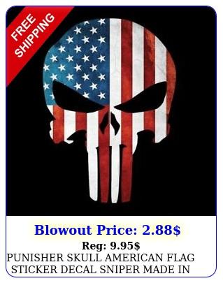 punisher skull american flag sticker decal sniper made in usa bu