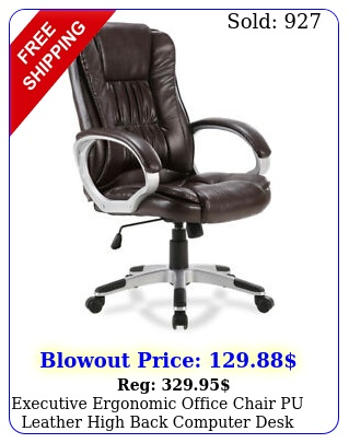 executive ergonomic office chair pu leather high back computer desk task moch