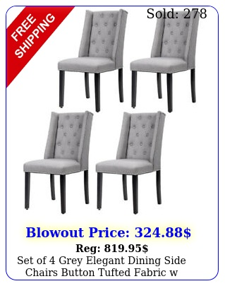 set of grey elegant dining side chairs button tufted fabric w nailhead