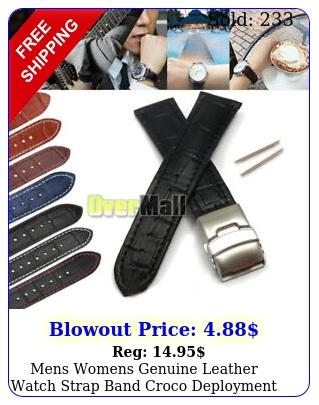 mens womens genuine leather watch strap band croco deployment clasp spring bar
