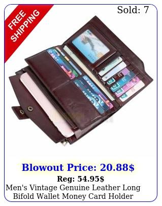 men's vintage genuine leather long bifold wallet money card holder clutch purs