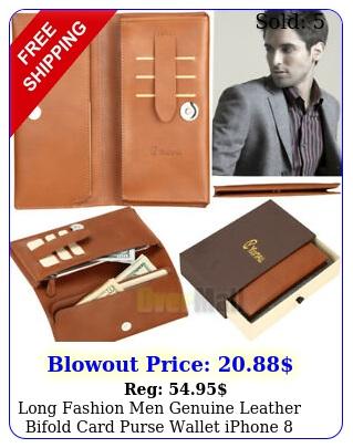 long fashion men genuine leather bifold card purse wallet iphone plus cas