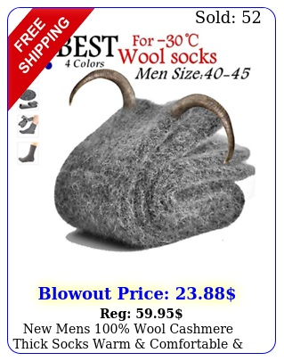 mens wool cashmere thick socks warm comfortable pure sock