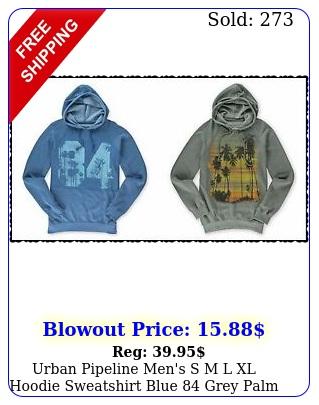urban pipeline men's s m l xl hoodie sweatshirt blue grey palm tre