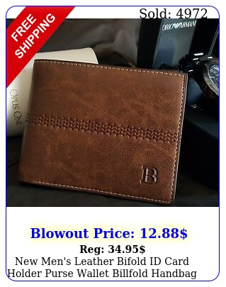 men's leather bifold id card holder purse wallet billfold handbag clutc