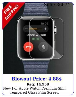 apple watch premium slim tempered glass film screen protector mm m