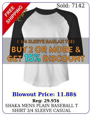 shaka mens plain baseball t shirt sleeve casual raglan tee active hip ho