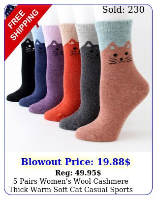 pairs women's wool cashmere thick warm soft cat casual sports socks winter us