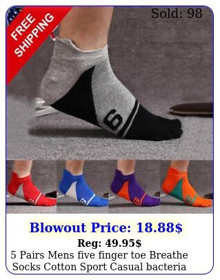 pairs mens five finger toe breathe socks cotton sport casual bacteria odo