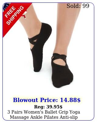pairs women's ballet grip yoga massage ankle pilates antislip dance gym sock