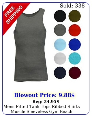 mens fitted tank tops ribbed shirts muscle sleeveless gym beach undershirt