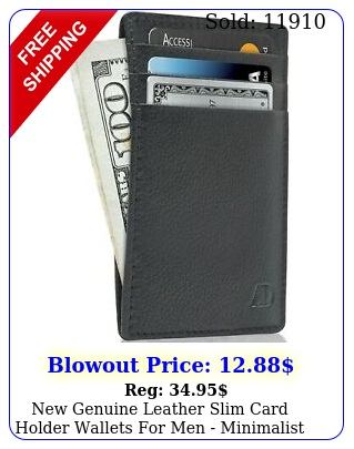 genuine leather slim card holder wallets men minimalist rfid blockin