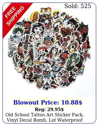 old school tattoo art sticker pack vinyl decal bomb lot waterproof pvc  p