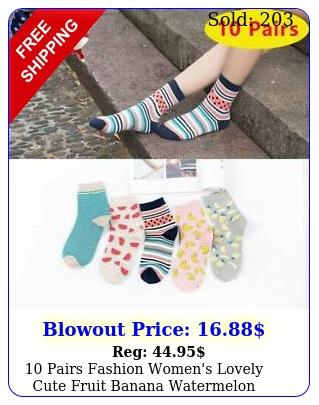 pairs fashion women's lovely cute fruit banana watermelon cotton socks color