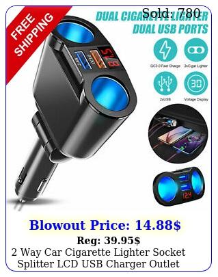 way car cigarette lighter socket splitter lcd usb charger outlet power adapte