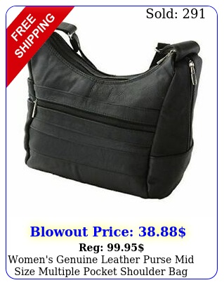 women's genuine leather purse mid size multiple pocket shoulder bag handba
