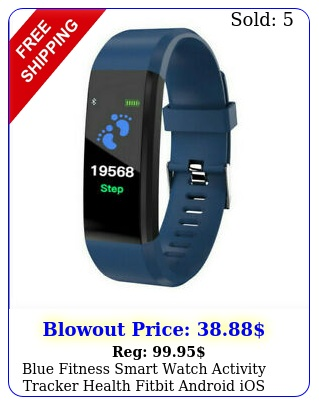 blue fitness smart watch activity tracker health fitbit android ios heart rat