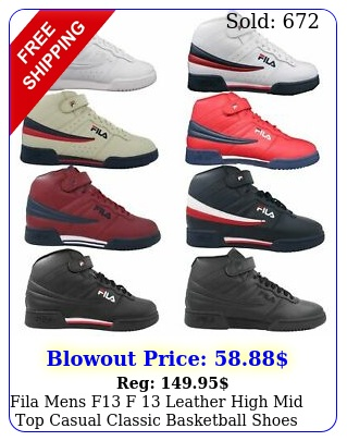 fila mens f f leather high mid top casual classic basketball shoe