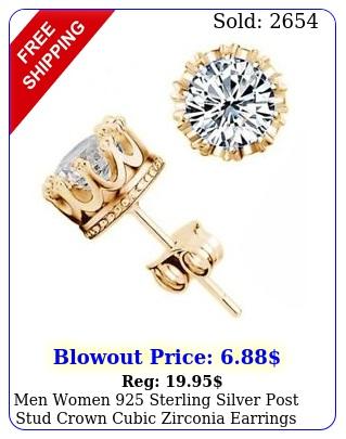 men women sterling silver post stud crown cubic zirconia earrings gif