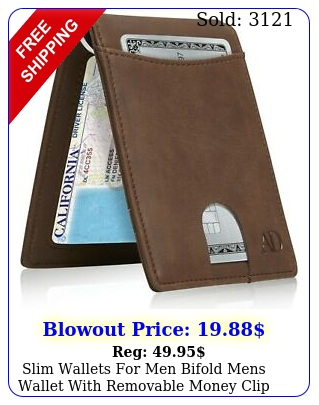 slim wallets men bifold mens wallet with removable money clip rfid blockin