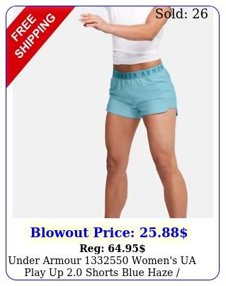 under armour women's ua play up shorts blue haze escape