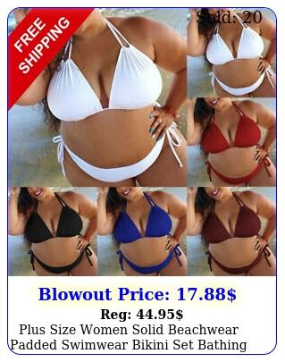 plus size women solid beachwear padded swimwear bikini set bathing suit swimsui