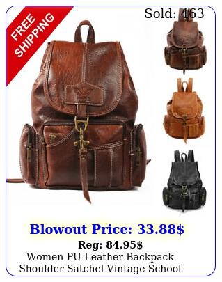 women pu leather backpack shoulder satchel vintage school travel bag rucksac