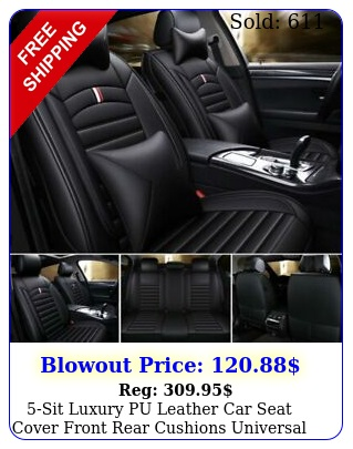 sit luxury pu leather car seat cover front rear cushions universal updated se
