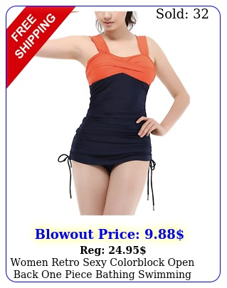 women retro sexy colorblock open back one piece bathing swimming suits in larg
