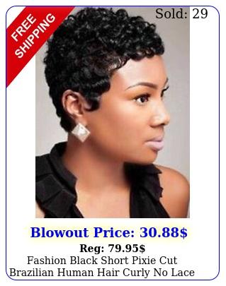 fashion black short pixie cut brazilian human hair curly no lace wigs us stock