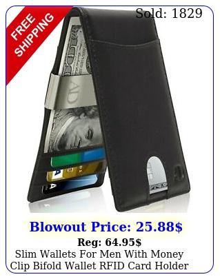 slim wallets men with money clip bifold wallet rfid card holder mens wallet