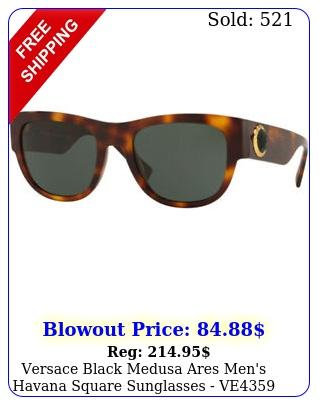 versace black medusa ares men's havana square sunglasses ve  ital